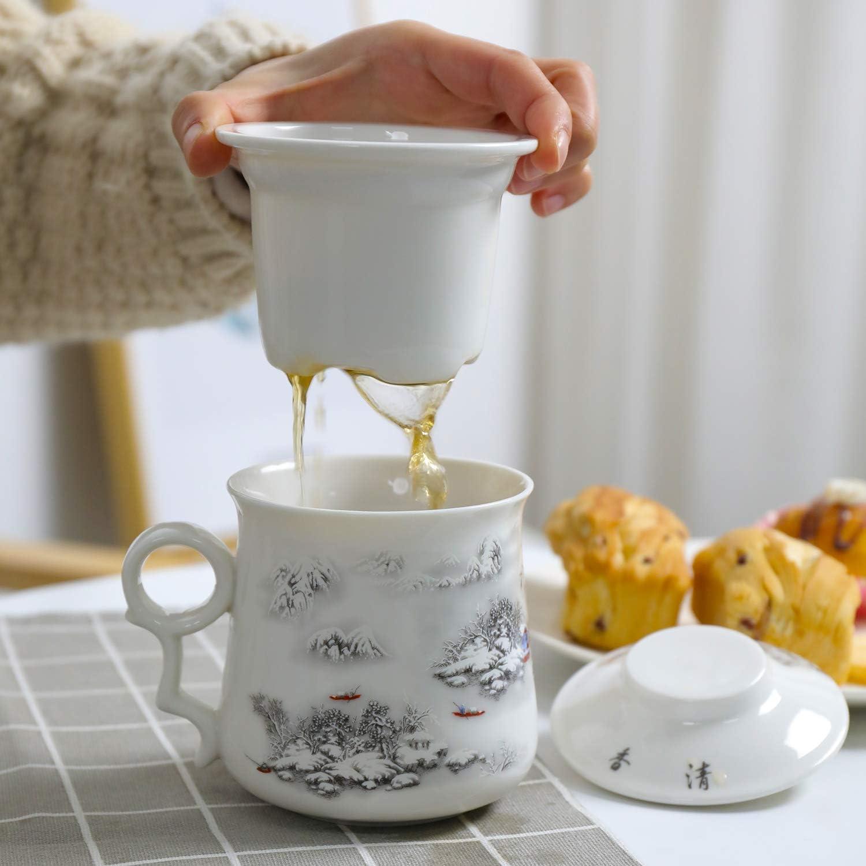 400ML Pivoine avec Filtre Plus raide et Couvercle infuseur en Acier de Porcelaine de Chine Moderne passoire Fabricant de Tasses infus/é TEANAGOO M01-4 Tasse /à th/é en c/éramique