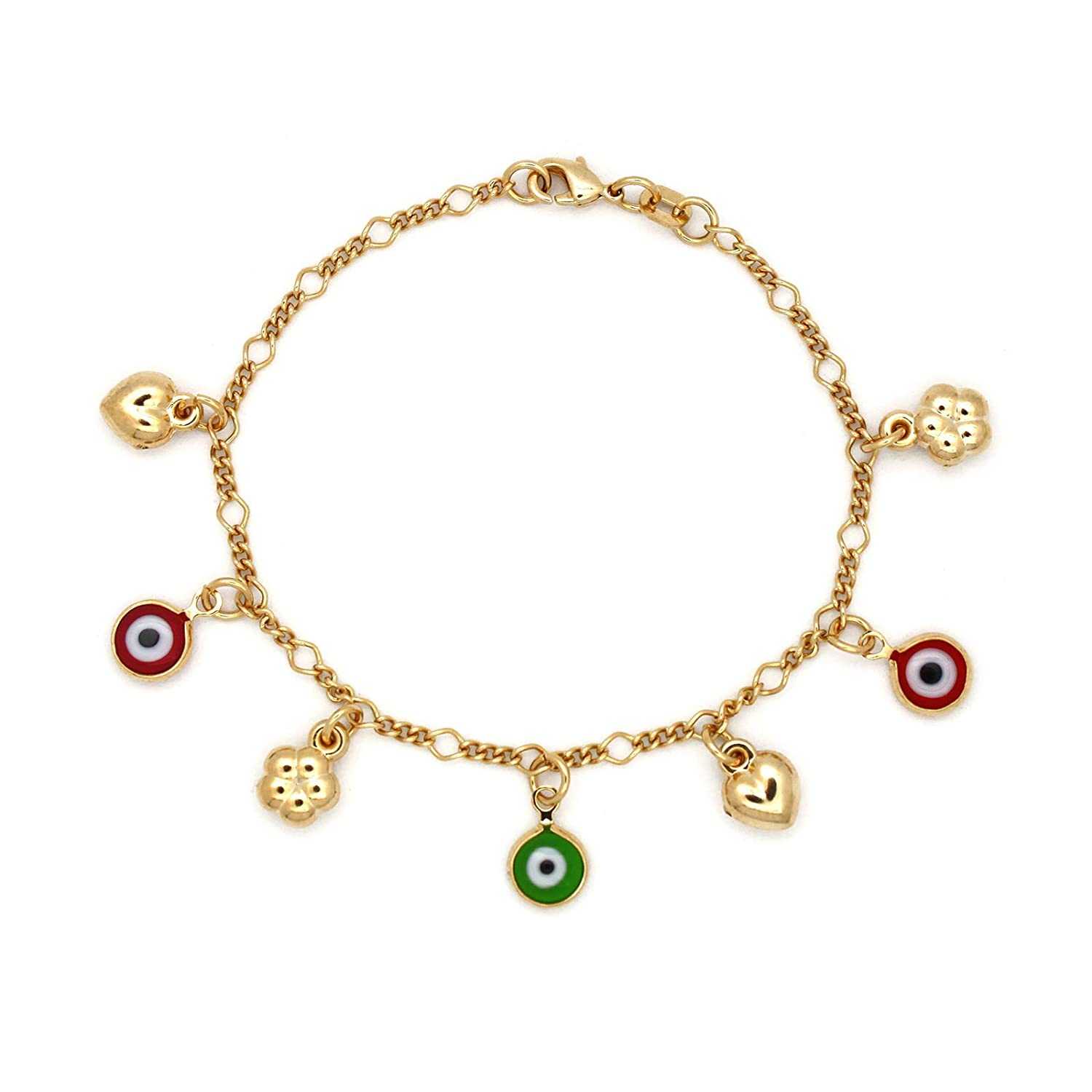 JEWELRY PARADISE Evil Eye Heart Clover Beads Charms Baby Child Girl Kid Teen Bracelet Chain Lucky Protection Love Prosperity 14kt Gold Filled Overlay-Plated Jewelry Good Luck Amulet
