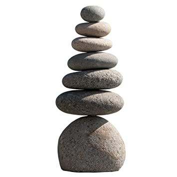 Exceptional Garden Decoration Stone, Natural River Stone Septuple Rock Cairn 7 Stacked Zen  Garden Pile Stone