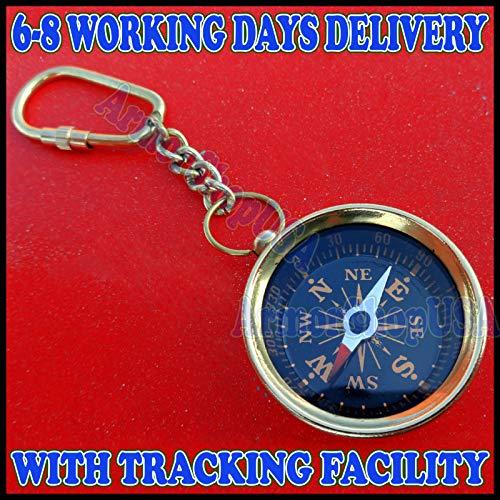 Arsh Nautical Brass Compass Keychain Marine Nautical Key Ring Bulk Wholesale Lot 50 Pcs