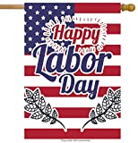 ShineSnow USA American flag Labor Day House Flag 28″ x 40″ Double Sided, Polyester Striped Stars Happy holiday Welcome Yard Garden Flag Banners for Patio Lawn Home Outdoor Decor For Sale