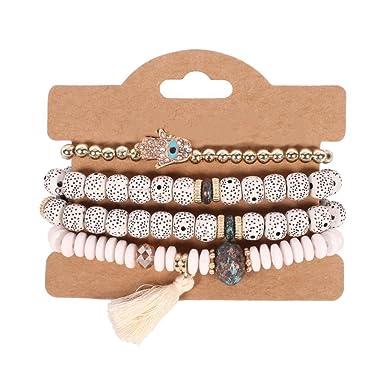 34c1c7b974adb Leana Collection Set 4Pcs Femme Rétro Bracelet Bodhi Oeil Perles Frange  Multicouche Bohême Bijoux Reiki Charme