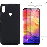"Kit 1 Capa e 2 Películas para Xiaomi Redmi Note 7 e Note 7 Pro Tela de 6.3"" Polegadas Capinha Transparente Case Clear Ultra Fina e Película De Vidro Temperado - Danet (Preta fumê)"
