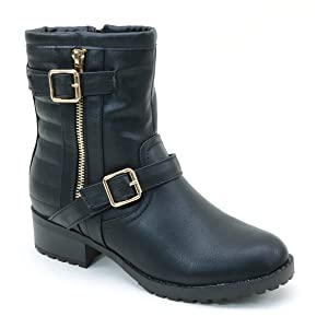New Brieten Women's Buckle Flats Ankle Riding Boots
