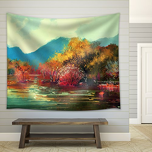 Illustration Painting of Beautiful Autumn Forest Illustration Fabric Wall Tapestry