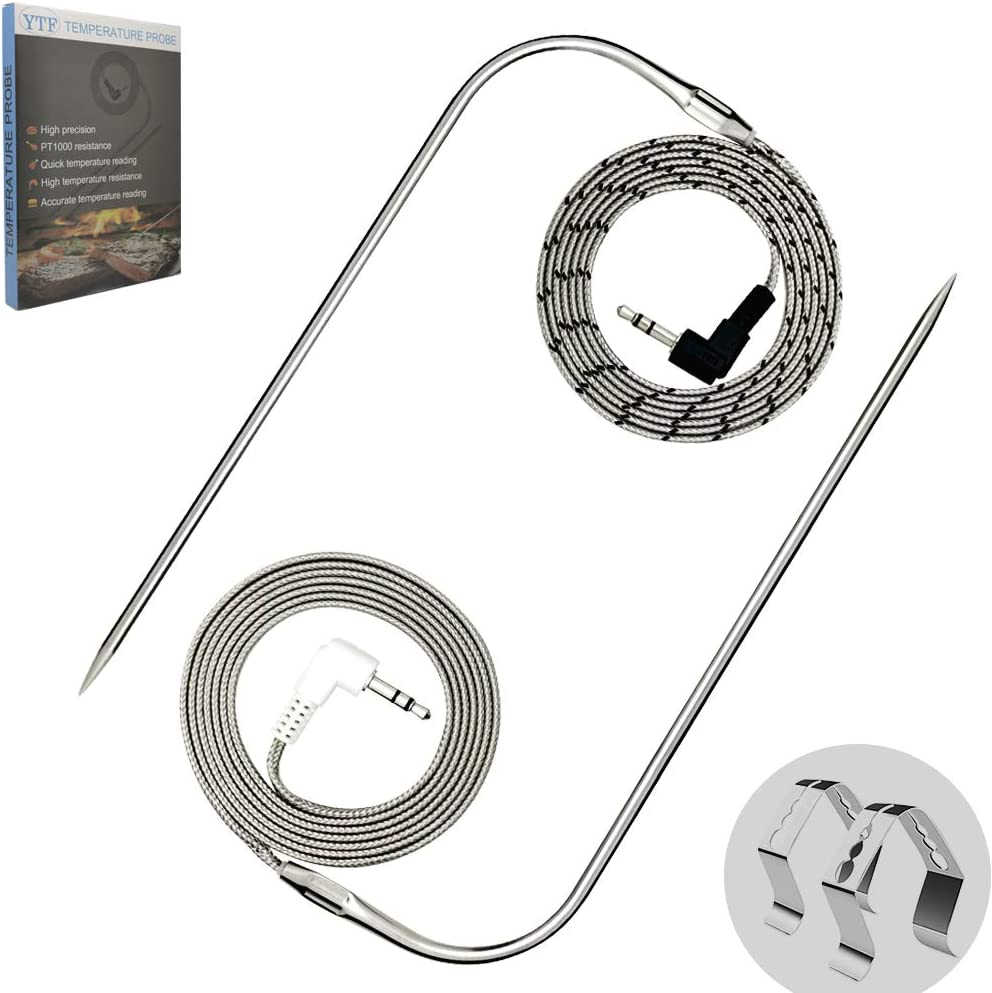 2pc Probes and 2pc Stainless Steel Holders. Premium 3.5mm Plug Meat Probe for Traeger Grill Accessories YTF Replacement High-Temperature Probe for Traeger Grills
