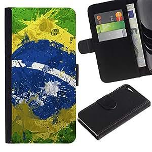 eJoy---La carpeta del tirón la caja de cuero de alta calidad de la PU Caso protector - Apple iPhone 5 / 5S - --Vintage Brazil Flag;