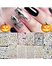 12 Sheets Halloween Nail Art Stickers Decals, Kalolary Self-adhesive DIY Nail Sticker Decals Nail Art Tips Stencil 3D Design Nail Decorations for Halloween Party, Include Pumpkin/Bat/Ghost/Witch
