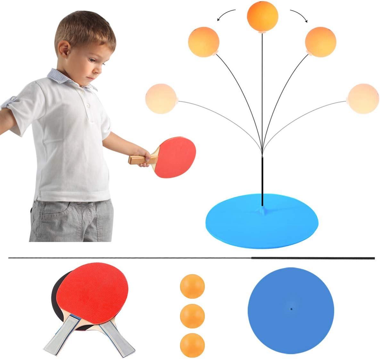 Juego de tenis de mesa de ping pong con elástico eje suave, 2 bates y 3 pelotas, juego de raquetas de ping-pong sin mesas equipo de entrenamiento para adultos y niños prevenir