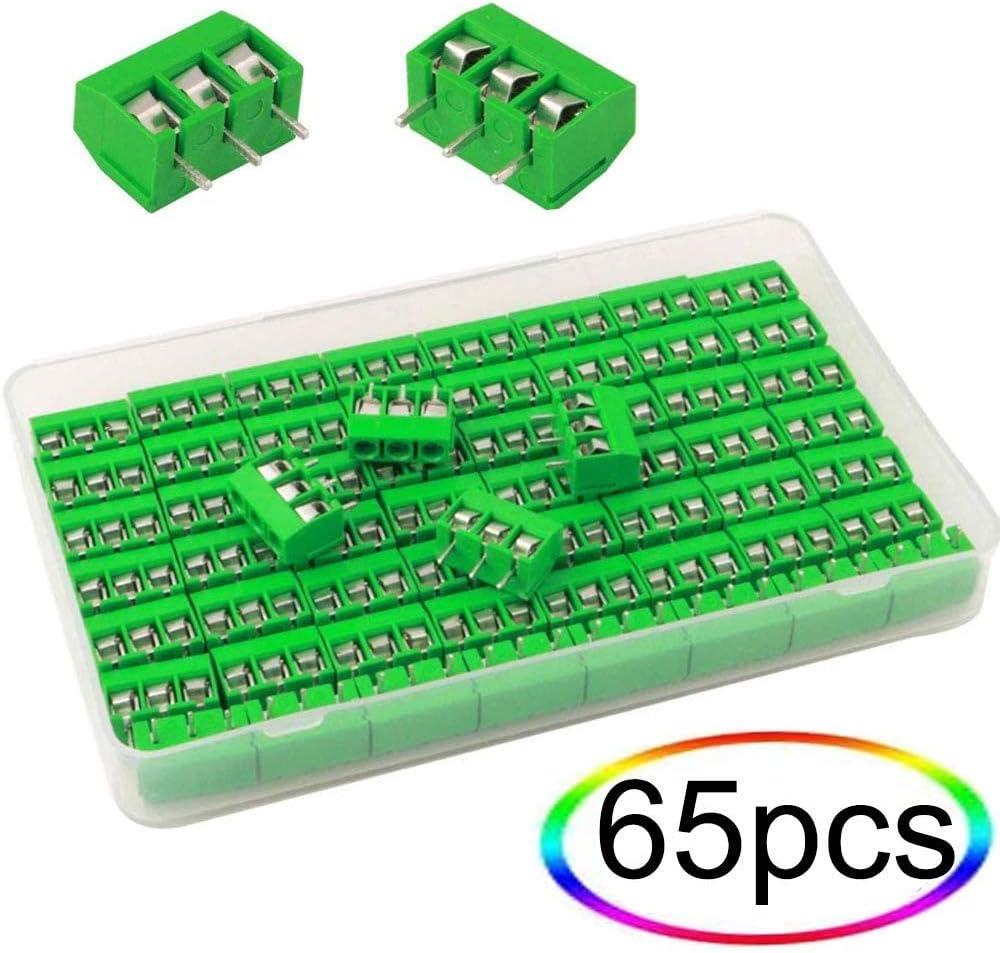 VISSQH 65 PCS PCB Vis Connecteur /à,PCB Bornier /à Vis pour Arduino Bornier /à Souder 5mm Pin Bornier /à Vis de PCB Circuit Imprim/é 3 Broches
