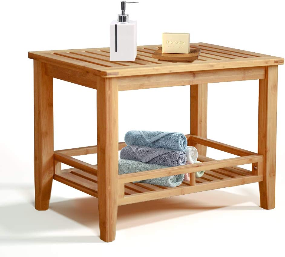 RANDEFURN Bamboo Shower Bench, Bathroom Bench with Shelf, Shower Seat for Inside Shower, Shoe Organizer or Entryway Bench, Entry Bench, Entryway Organizer, Shoe Cubby, 24x15x18.2 Inches
