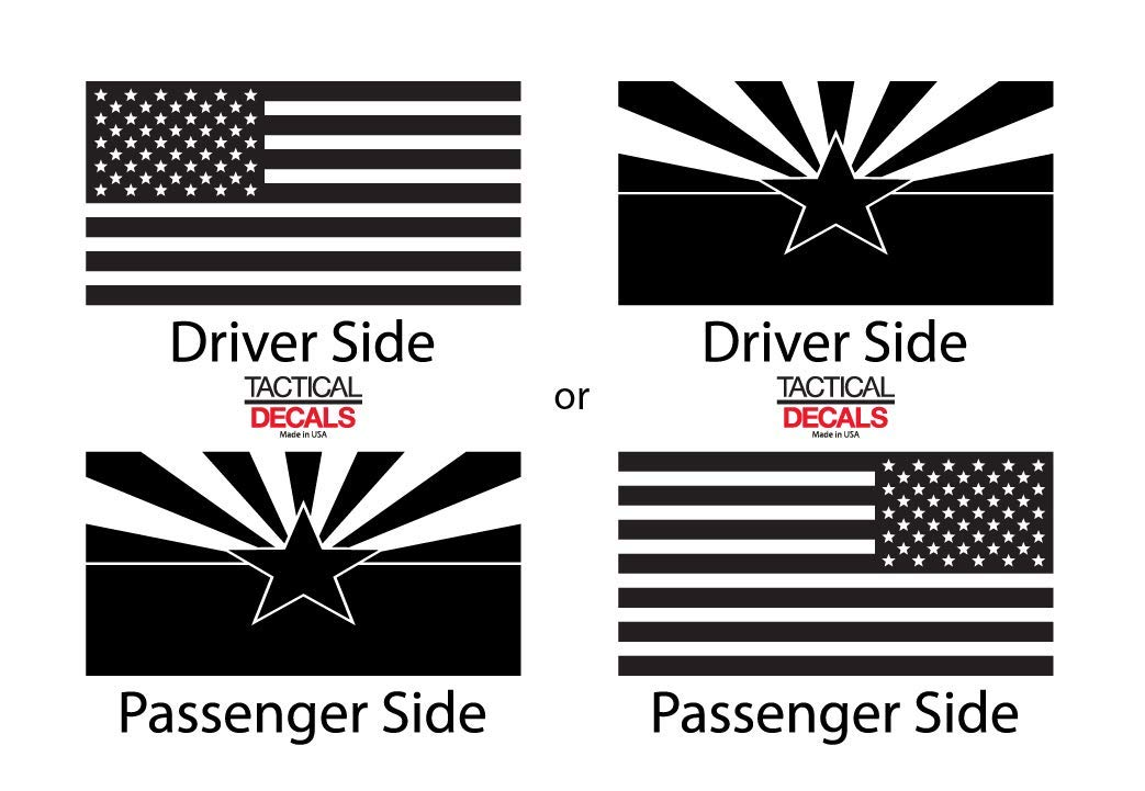 Toyota 4Runner USA Flag Decals in Matte Black for side windows TF26.A State of Arizona Flag