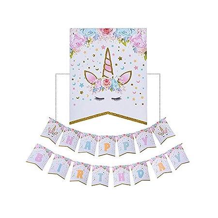 Rocita Bunting Pancarta Unicornio Fiesta de cumpleaños ...