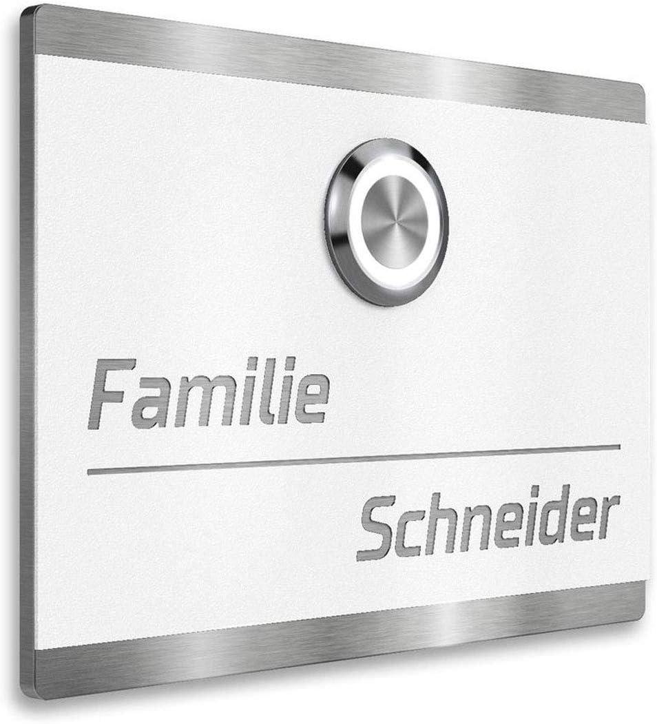 LED-T/ürklingel Haust/ürklingel aus Edelstahl wei/ß beschichtet