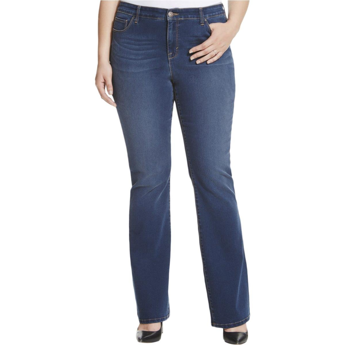 Style & Co. Womens Plus Curvy Fit Tummy Control Boot Cut Jeans Blue 22W