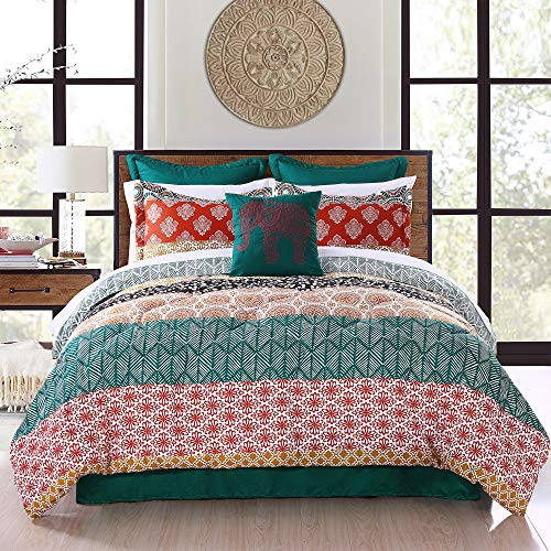 Lush Decor Bohemian Stripe Comforter-Colorful Pattern Boho Style Reversible 7 Piece Bedding Set-Full Queen-Turquoise and Orange, Turquoise & Orange