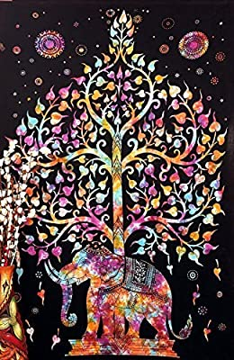 Popular Handicrafts Tree Of Life Elephant Tie Dye Bohemian Psychedelic Intricate Floral Design Indian Bedspread Tapestry 54x84 Inches,(140cmsx215cms)