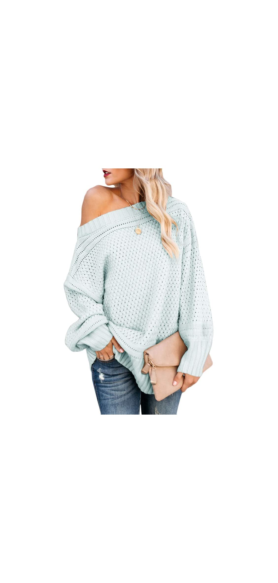 Womens Off Shoulder Pullover Long Sleeve Oversized