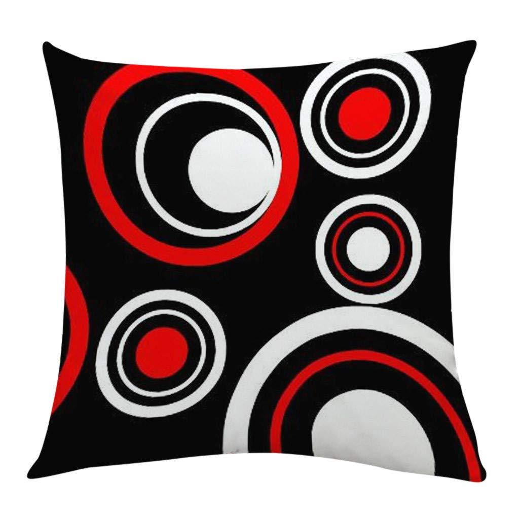 Sikye Pillowcase Square Black White Red Splicing Geometric Design Waist Throw Cushion Cover Bedroom Sofa Bench De (B)