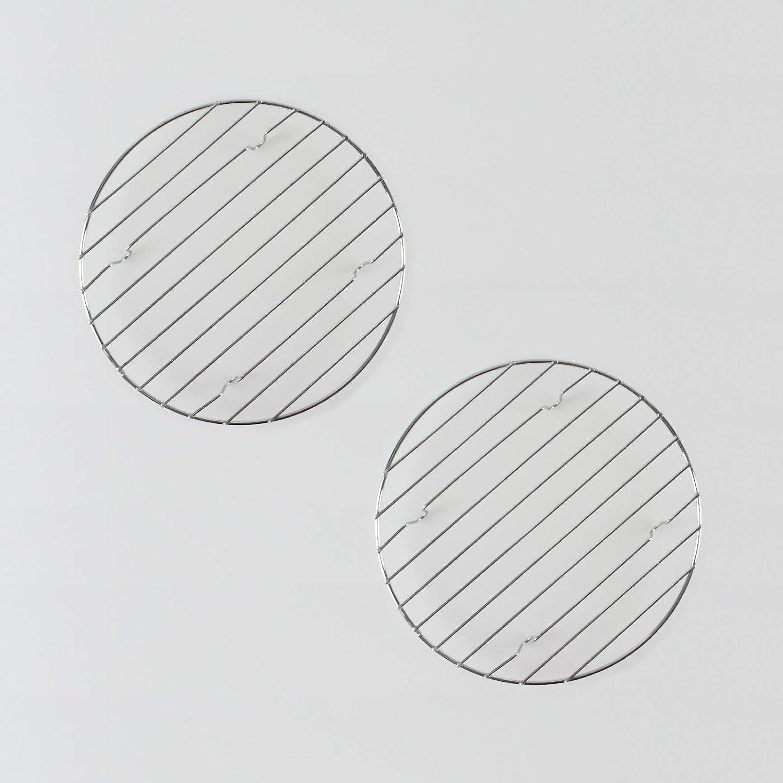LIBLAR-LINE 2er Set Küchenuntersetzer Chrom Ø 20cm Topfuntersetzer Backen Metall Gitter Rund