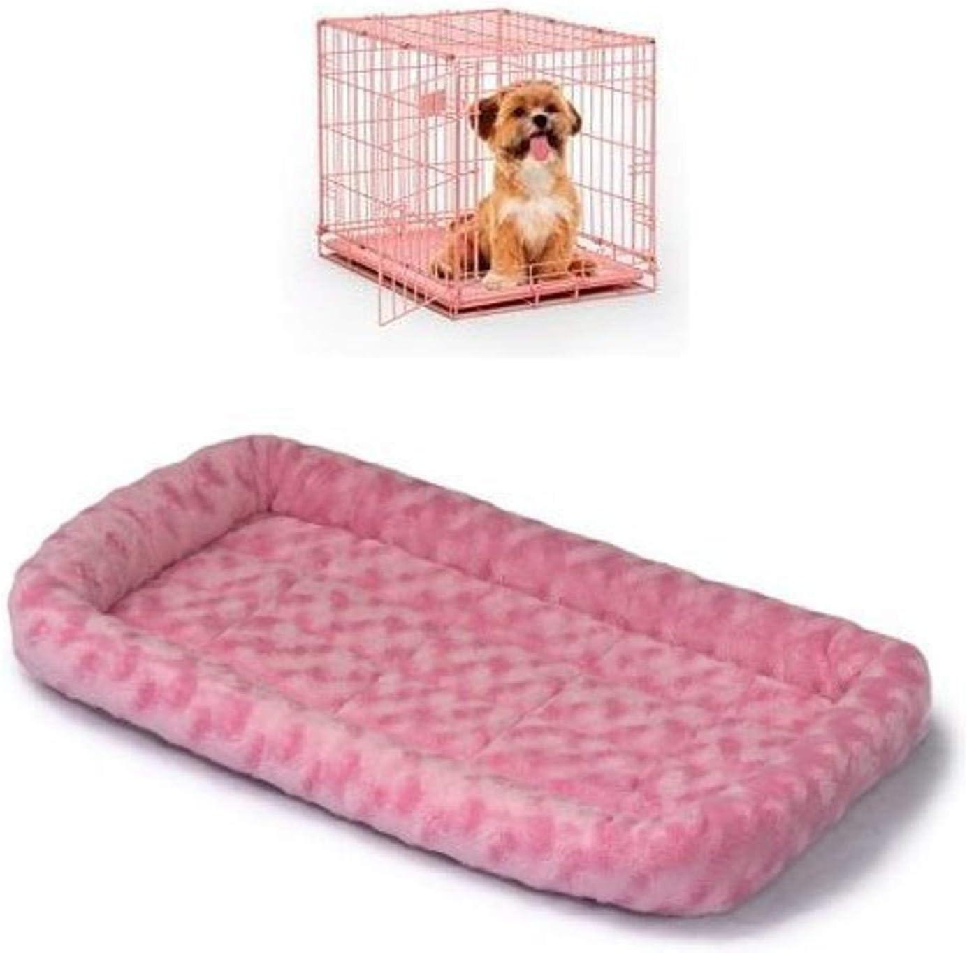 24-Inch Single Door iCrate with Fleece Bed, Pink