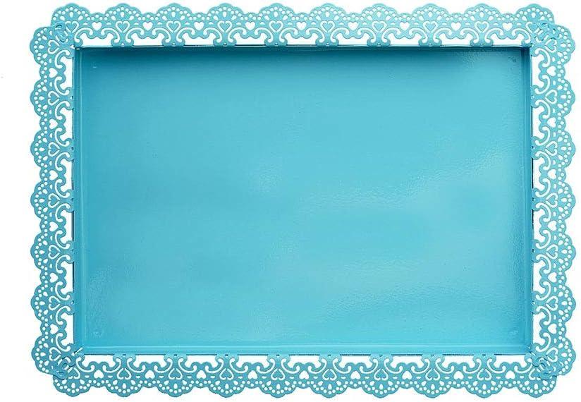 Utimate Placa de Pastel de Boda de Encaje Retro Azul, Bandeja de Pastel Rectangular de Hierro Forjado de Metal Vintage, Plato de postres para Banquetes de Bodas en Fiestas Familiares,M: Amazon.es: Hogar