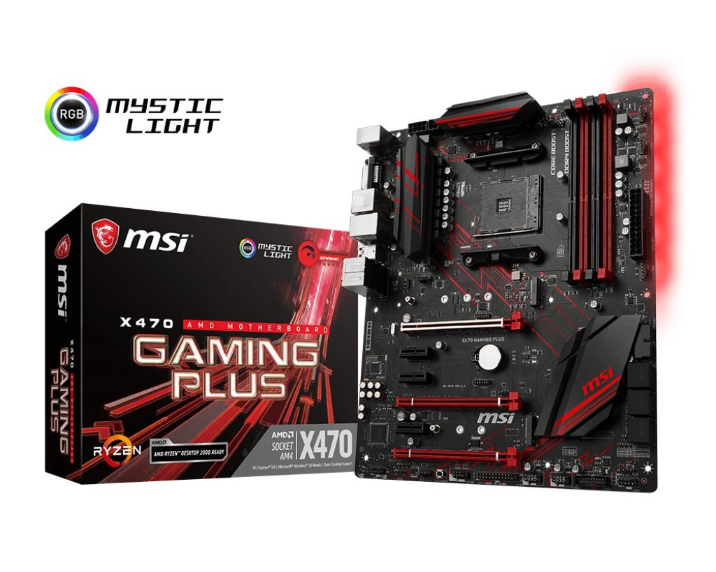MSI Performance Gaming AMD X470 Ryzen 2 AM4 DDR4 Onboard Graphics CFX ATX Motherboard (X470 Gaming Plus) by MSI
