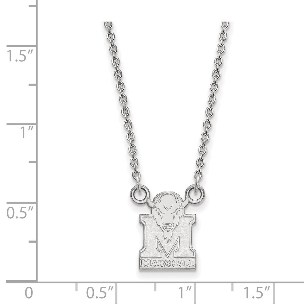 18 in x 1.25 mm 925 Sterling Silver Officially Licensed Marshall University College Small Pendant with Necklace