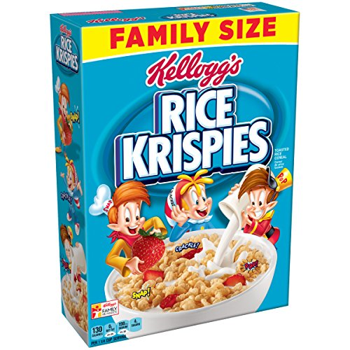 Kelloggs Rice Krispies Breakfast Cereal, Original, Fat-Free, Family Size, 24 oz Box