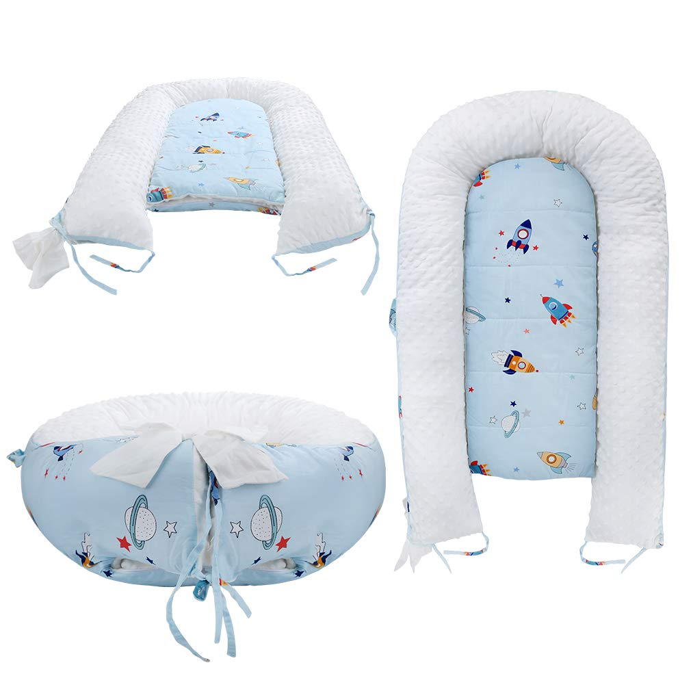 Baby Lounger,Baby Nest Portable Super Soft Organic Cotton and Breathable Newborn Lounger Perfect for Co-Sleeping Fish