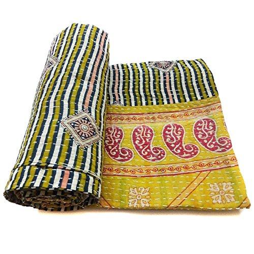 Vintage Kantha Quilt Traditional Indian Cotton Art Decor Blanket Bedding Throw