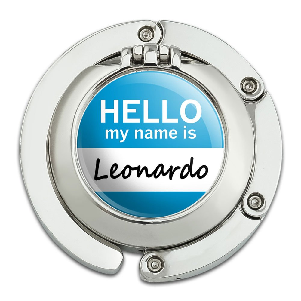 Leonardo Hello My Name Is Foldable Table Bag Purse Caddy Handbag Hanger Holder Hook with Folding Compact Mirror