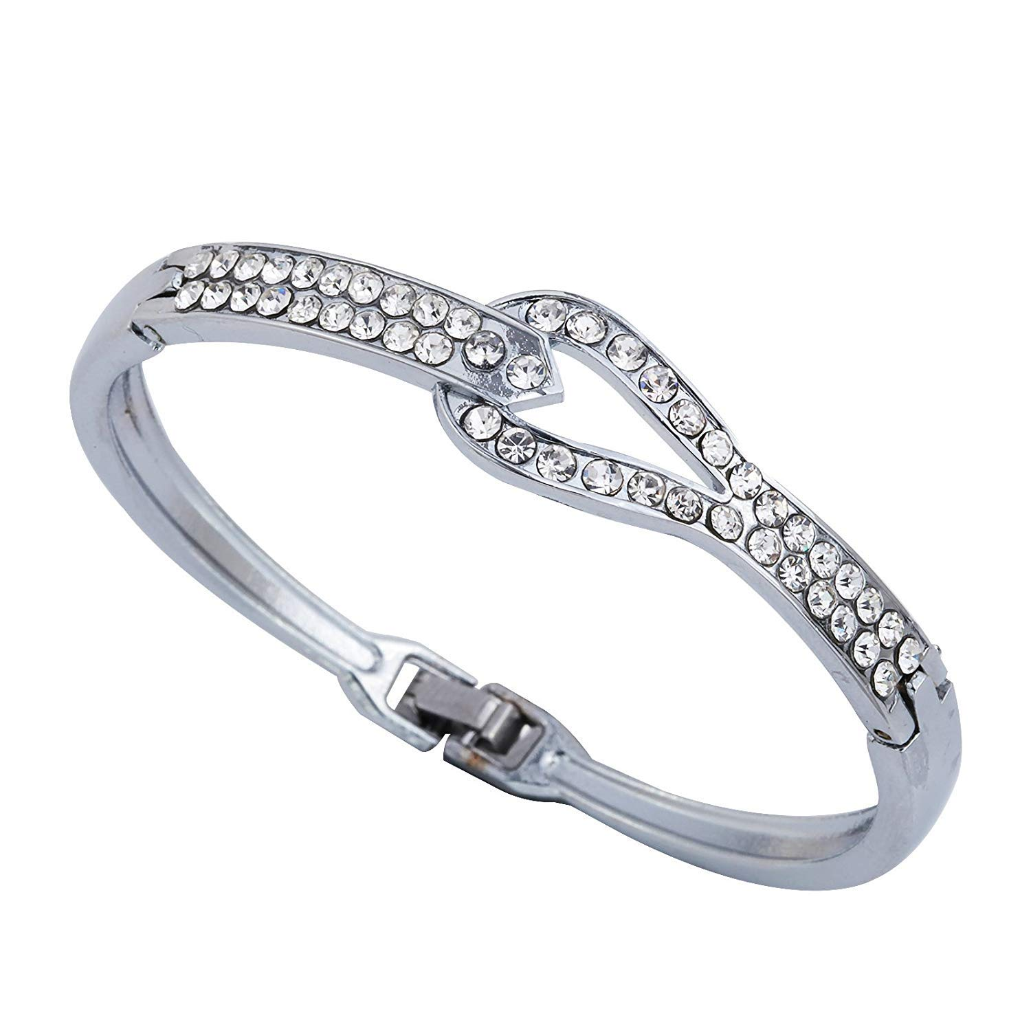 DVANIS Jewelry Silver Plated Clear Crystal Bangle Bracelet 2.2'' Women Gift