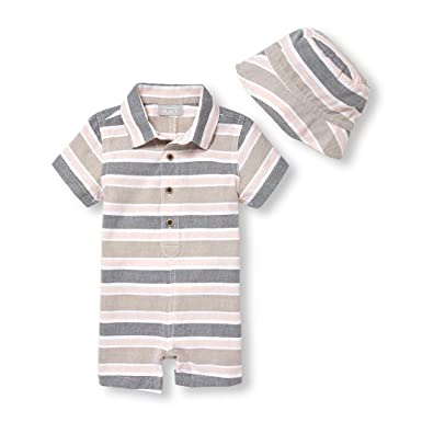 752170aa636f4 Amazon.com: The Children's Place Baby Boys' Romper and Hat Set: Clothing