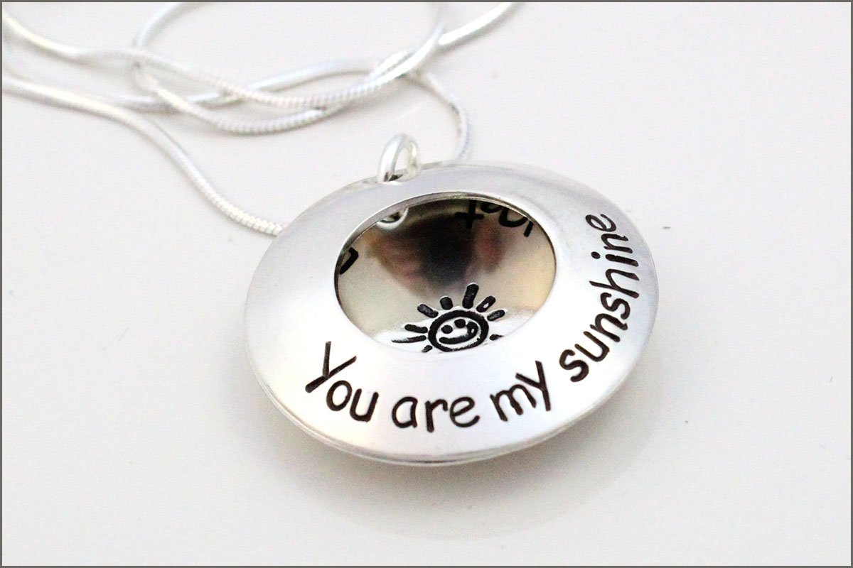 Mommy Jewelry You are My Sunshine Personalized sterling silver hand stamped necklace