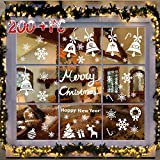 214 PCs 6 Sheets Snowflakes Window Clings PVC Winter Decal Stickers for Christmas Decorations Winter Ornaments Xmas Party Stickers by R • HORSE (White Snowflakes / Baubles / Bells INCLUDED)