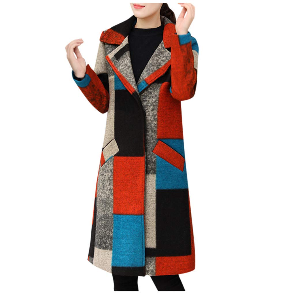 SGYH Fashion Women's Colorblock Midi Lapel Cashmere Wool Blend Trench Button Coat Outwear Jacket with Pockets by SGYH Womens