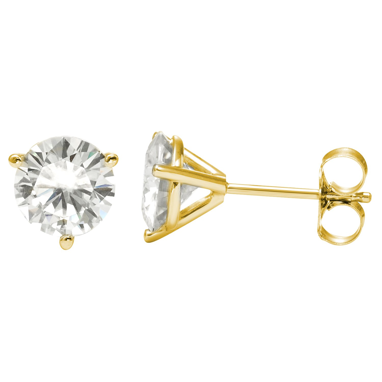 earrings gold w pin t carat forever brilliant lab created stud moissanite