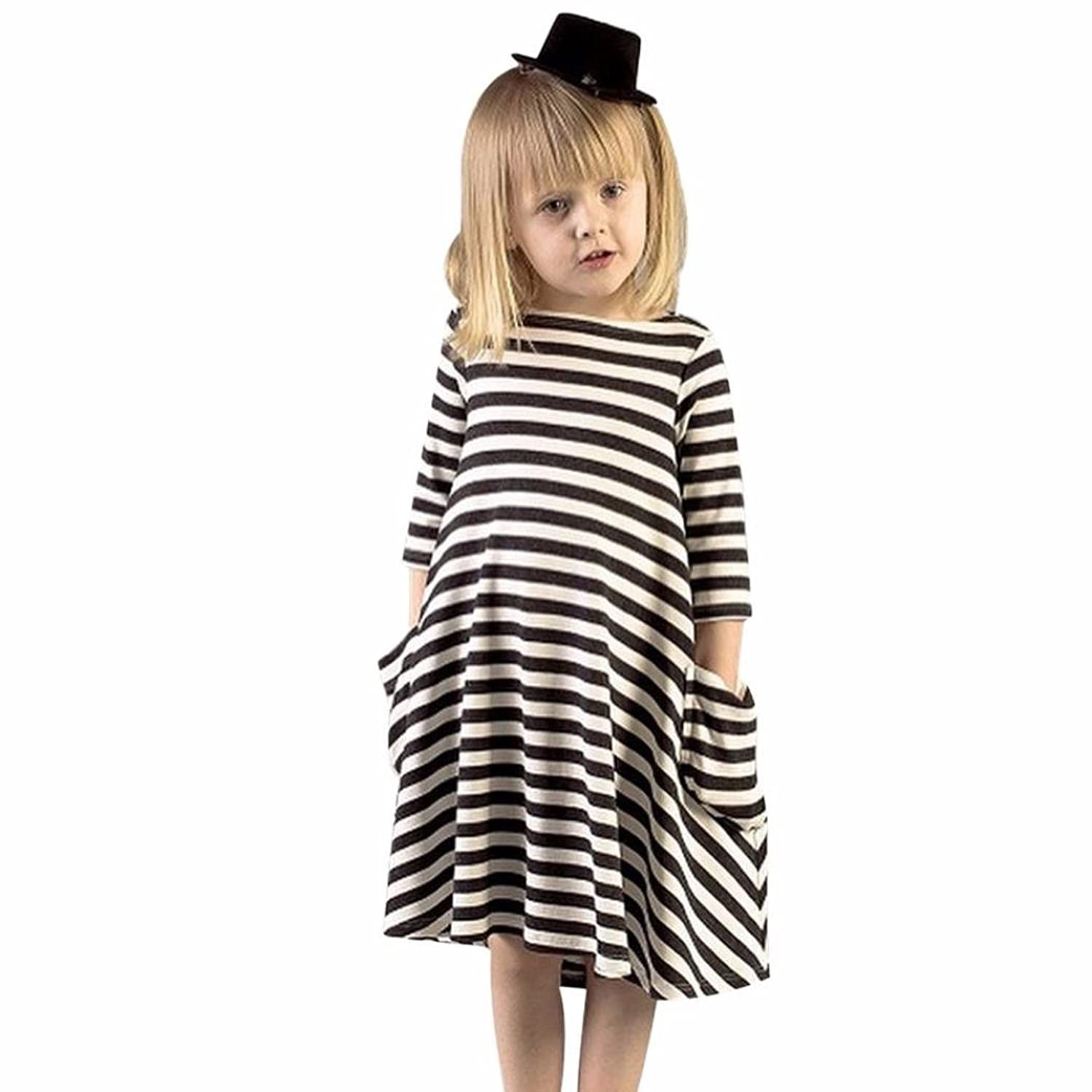 ChainSee Girls' Casual Family Clothes Black White Striped Three Quarter Sleeve Cotton Dress