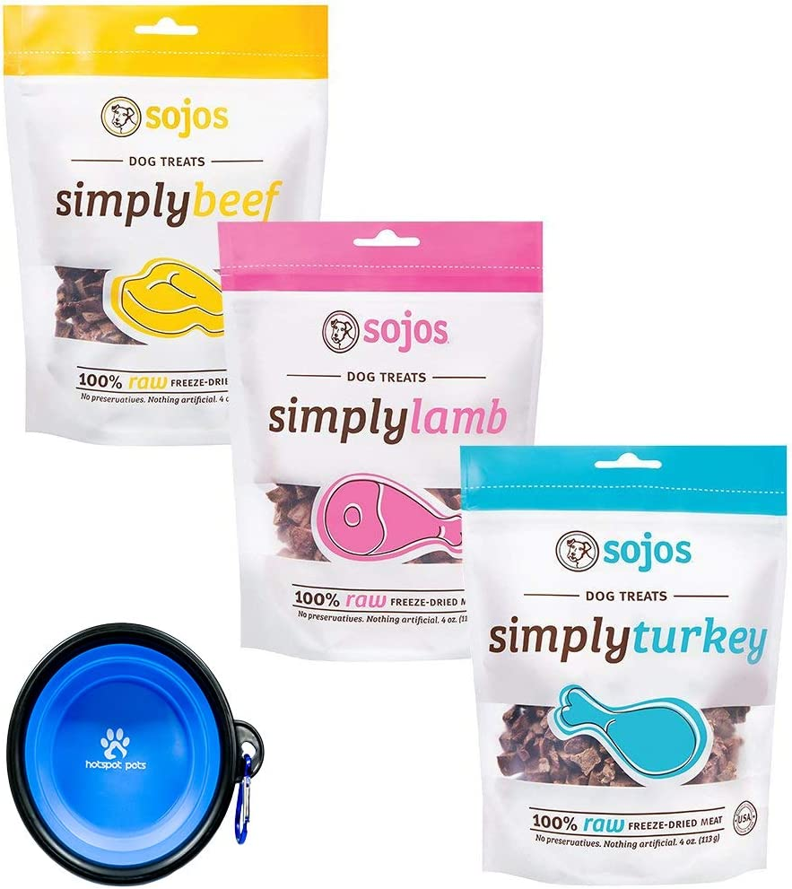 Sojo's Freeze-Dried Meat Treats for Dogs - Sojos 3 Pack Simply Variety Bundle (1) Beef Snack Treats (1) Lamb Snack Treats (1) Turkey Snack Treats (12 Oz Total) W/YHS Pets Bowl - 100% Made in USA