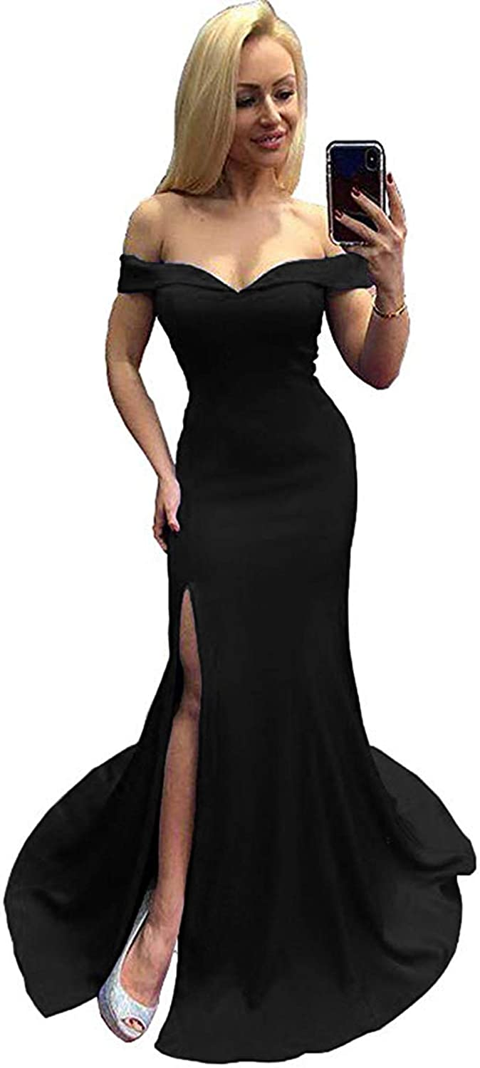 Black Rmaytiked Womens Off The Shoulder Mermaid Prom Dresses Long Side Slit 2019 Satin Formal Evening Ball Gowns