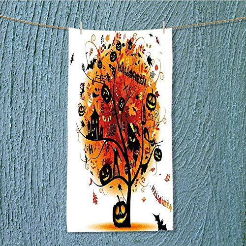 SCOCICI1588 super absorbent towel Distressed Tree with Halloween Elements Ideal for everyday use w13.8 x H27.5 INCH ()