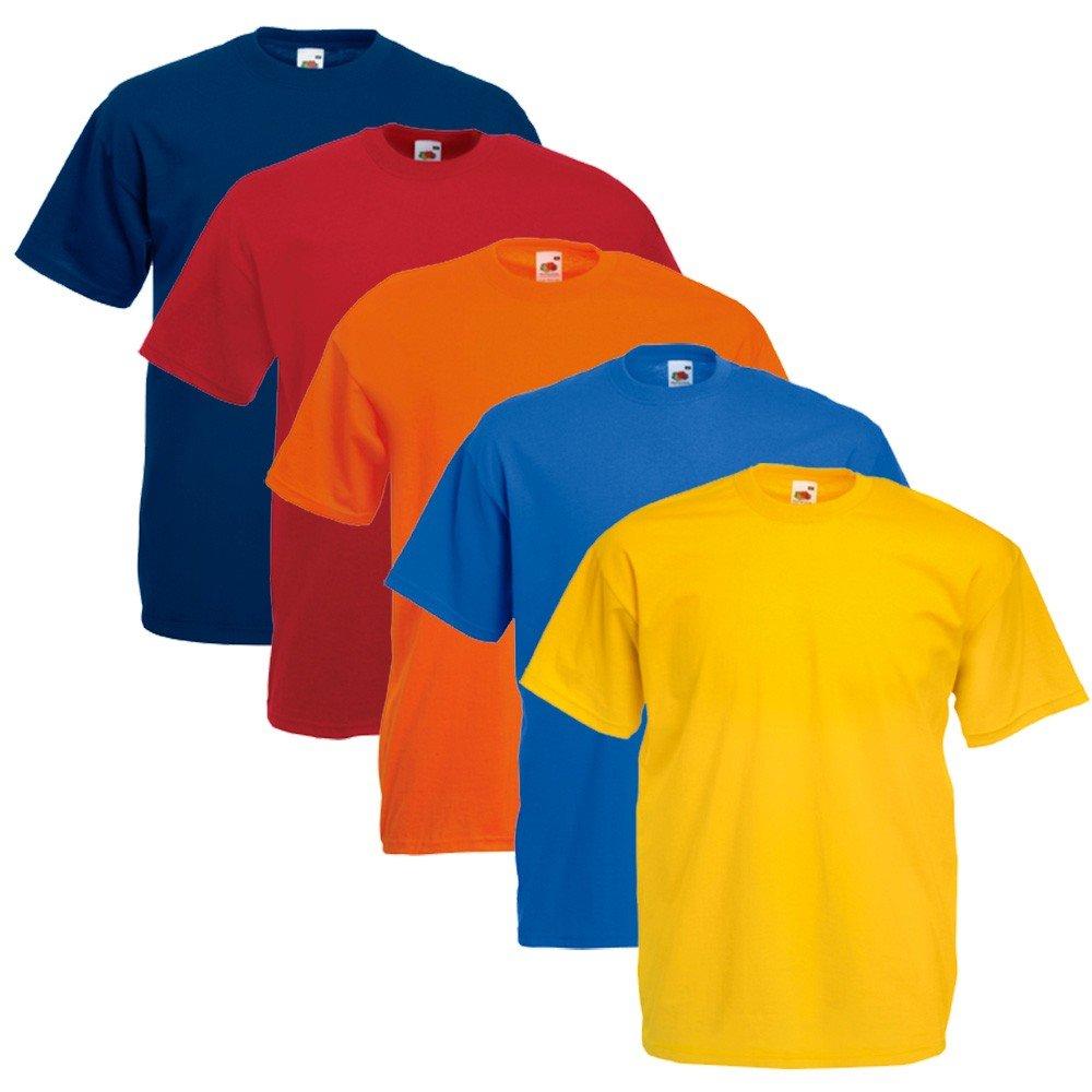 Fruit of the Loom uomo maglietta 5 PackRegular Fit 11182V - cotone, Set Colori I, 100% cotone, L 5X 61-036-0