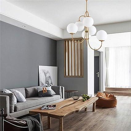 LPZF Nordique E27 Suspensions,6 Luminaires Spoutnik Lustres Moderne Globe Verre Abat-jours Loft Salon 6 Lumi/ères 79x63cm