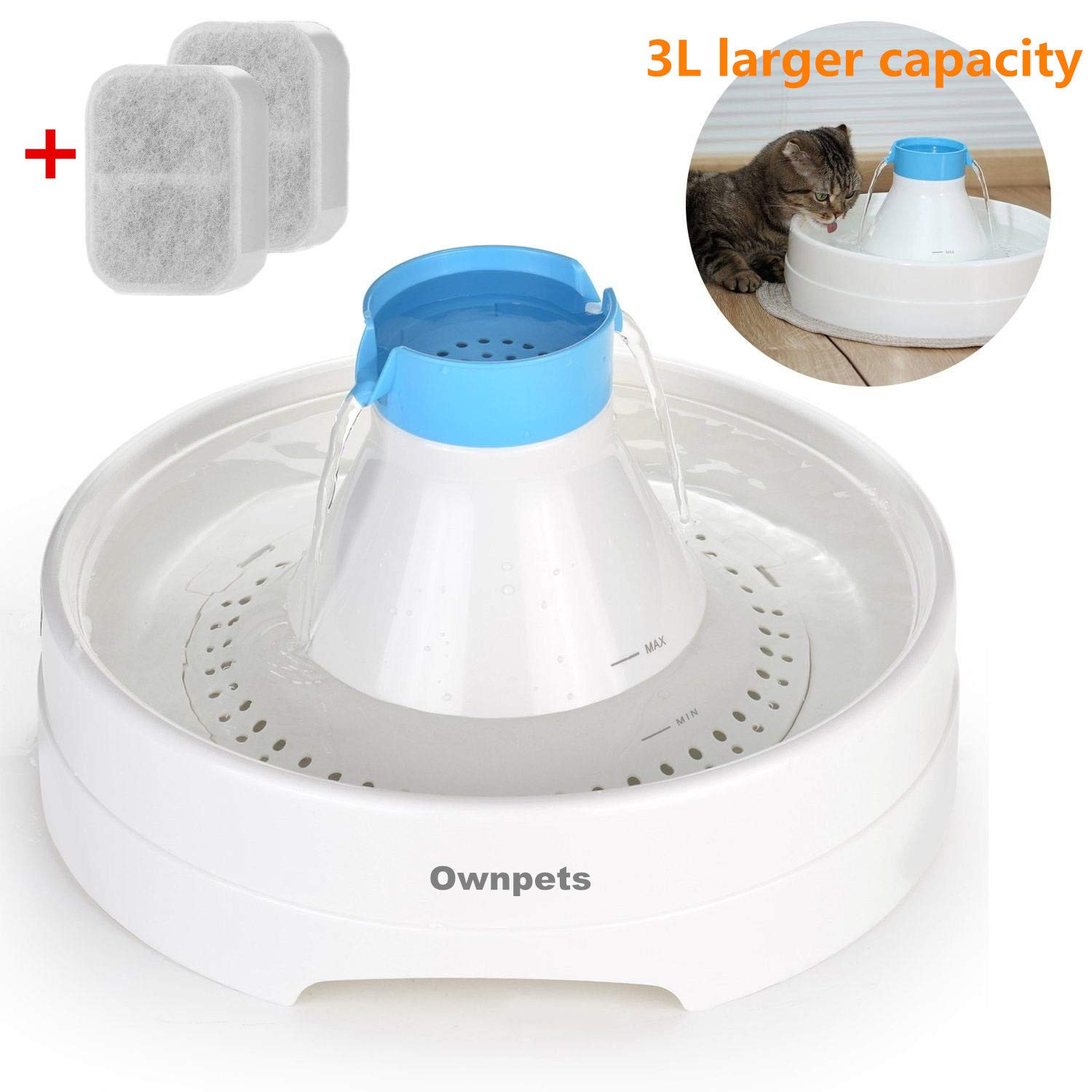 OWNPETS Pet Drinking Fountain Quiet Automatic Eletrinic Water Fountain for Cat and Dog