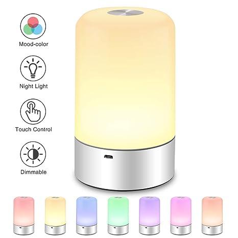 SOLMORE LED Nachtlicht Kinder Touch Control Smart Nachttischlampe Schreibtischlampe 256 RGB-Farbwechsel & Dimmbares Multifunk