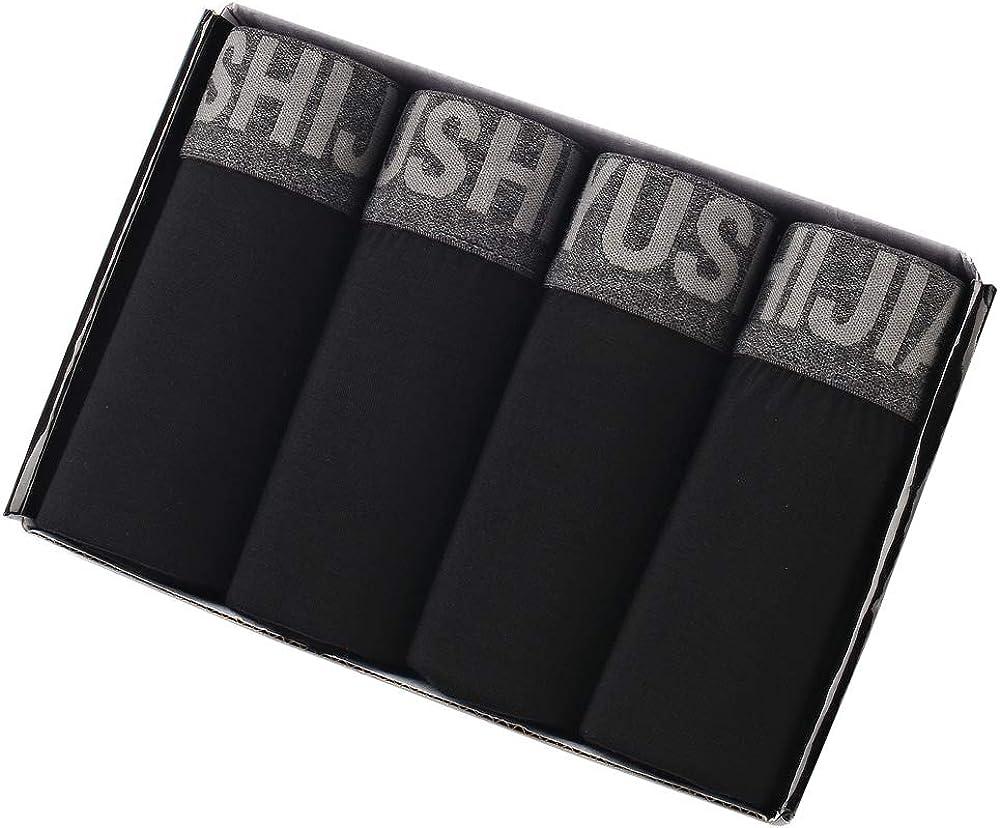 Eyushijia Mens 4 Pack Comfortable Bamboo Fiber Boxer Briefs