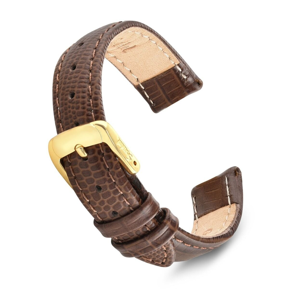 Speidel Genuine Leather Watch Band 14mm-Brown Padded Gator Lizard Replacement Strap with Tone on Tone Stitching, Stainless Steel Metal Buckle Clasp, Watchband Fits Most Watch Brands by Speidel (Image #1)