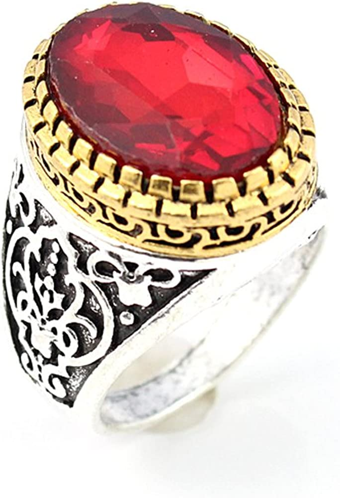 BEST QUALITY GARNET FASHION JEWELRY SILVER PLATED AND BRASS RING 10 S22879