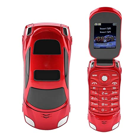 Vbestlife Teléfono Móvil Flip Teclado de Modelo de Coche Celular Flip en Forma de Coche Ferrari
